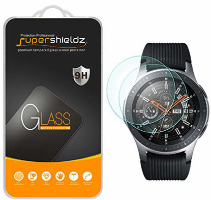 Picture of (2 Pack) Supershieldz for Samsung Galaxy Watch (46mm) Tempered Glass Screen Protector, (Full Screen Coverage) Anti Scratch, Bubble Free