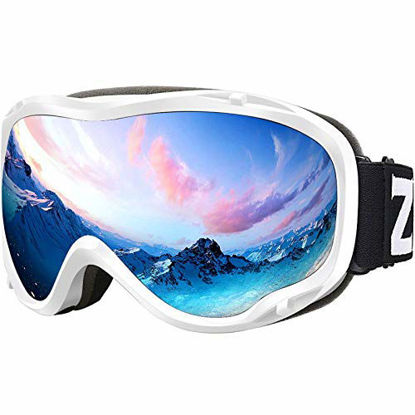 Picture of ZIONOR Lagopus Ski Snowboard Goggles UV Protection Anti fog Snow Goggles for Men Women Youth VLT 8.6% White Frame Silver Lens